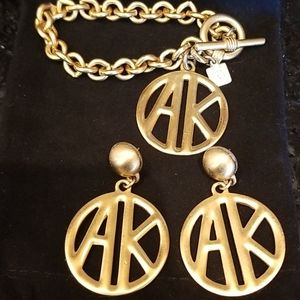 Gold Anne Klein earring and bracelet set